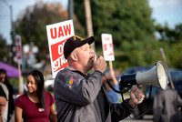 UAW Local 1097 members and solidarity strikers walk the picket line on Sept 16th, 2019 in Rochester.